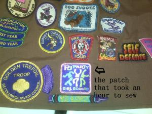 The patch that took an hour to sew on